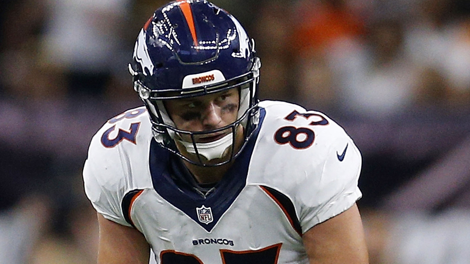 A.J. Derby of the Denver Broncos lines up during a game against the New Orleans Saints at the Mercedes-Benz Superdome on Nov. 13, 2016 in New Orleans, Louisiana. (credit: Jonathan Bachman/Getty Images)