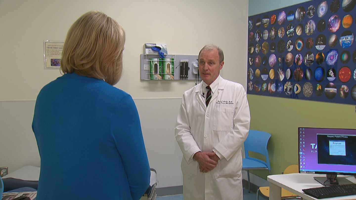 CBS4's Kathy Walsh interviews Dr. Steven Moulton, Burn Center Medical Director and trauma surgeon, at Children's Hospital Colorado. (credit: CBS)