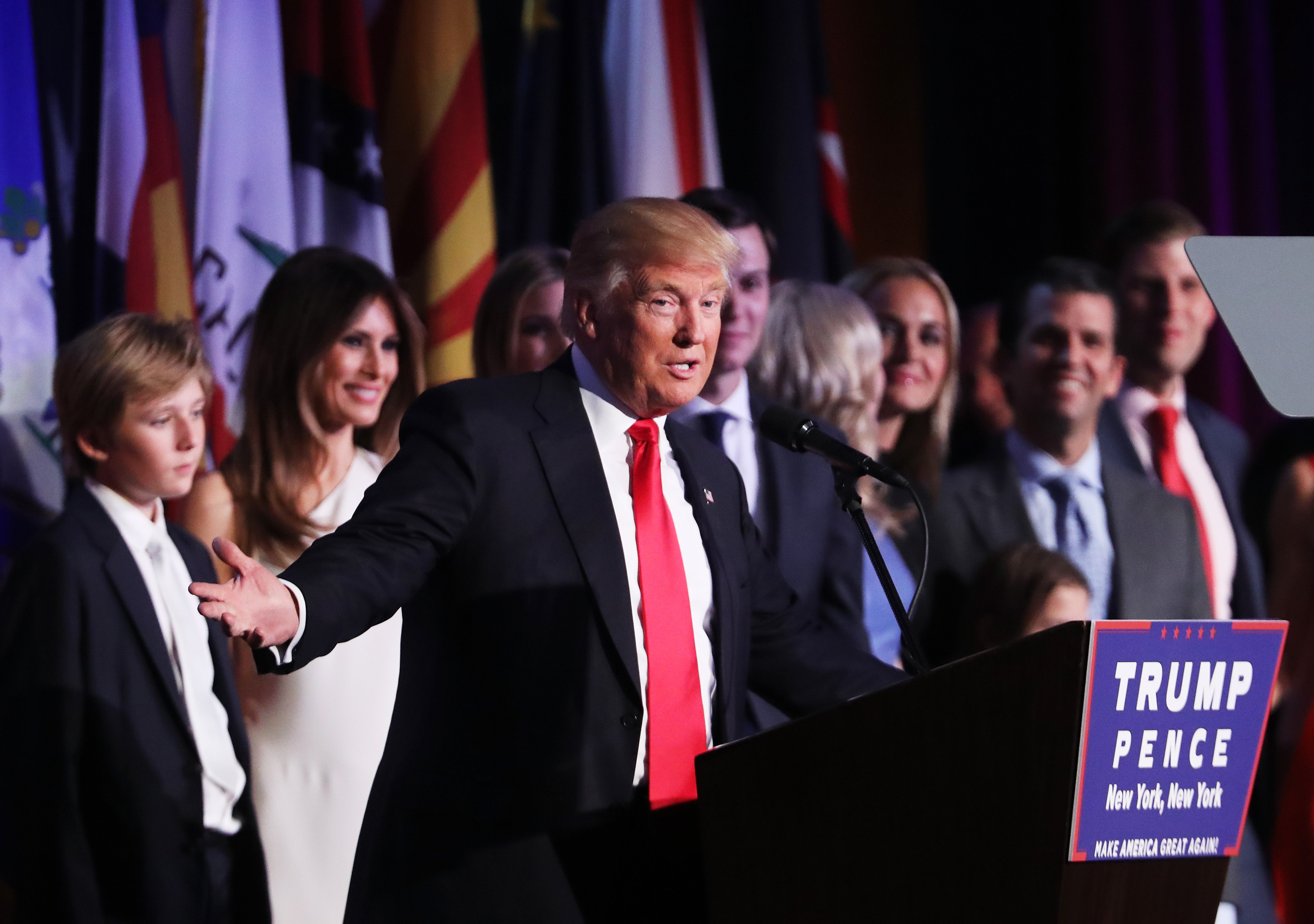 Republican president-elect Donald Trump delivers his acceptance speech during his election night event in the early morning hours of November 9, 2016 in New York City. Donald Trump defeated Democratic presidential nominee Hillary Clinton to become the 45th president of the United States.  (credit: Spencer Platt/Getty Images)