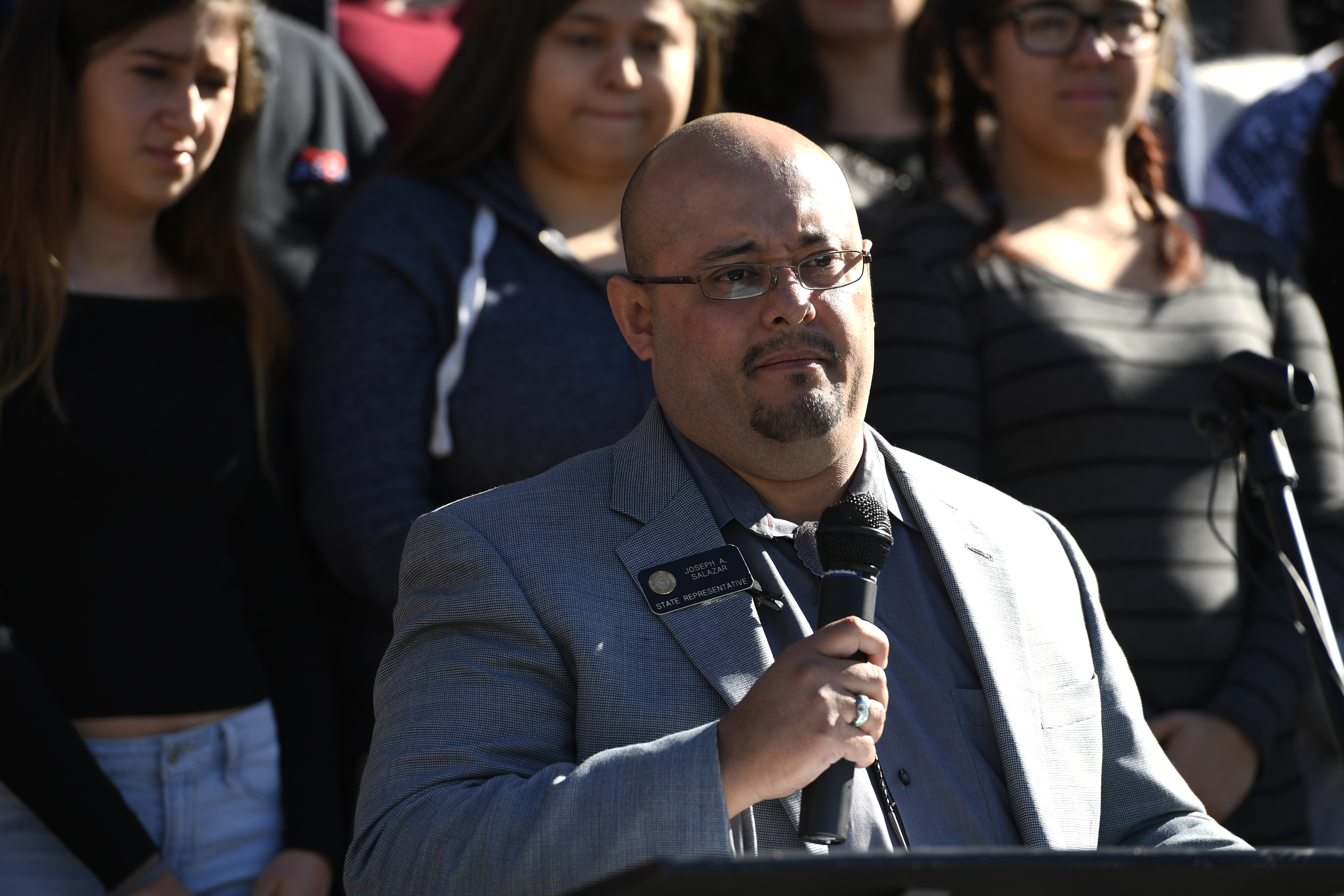 State Rep. Joseph Salazar during the rally on Nov. 10, 2016 (credit: John Leyba/The Denver Post via Getty Images)