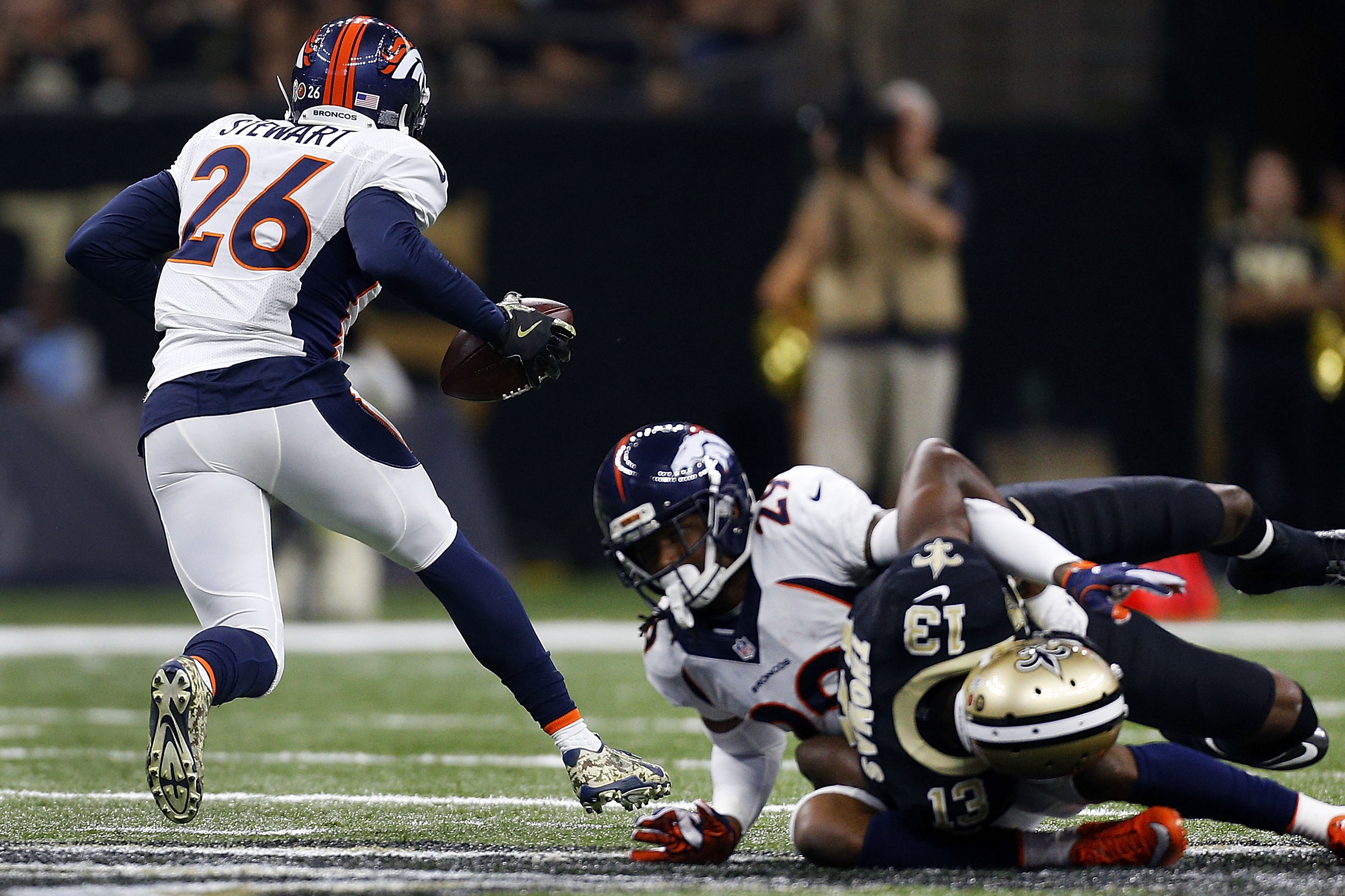 Darian Stewart #26 of the Denver Broncos returns an interception during the first half of a game against the New Orleans Saints at the Mercedes-Benz Superdome on November 13, 2016 in New Orleans, Louisiana. (credit: Jonathan Bachman/Getty Images)