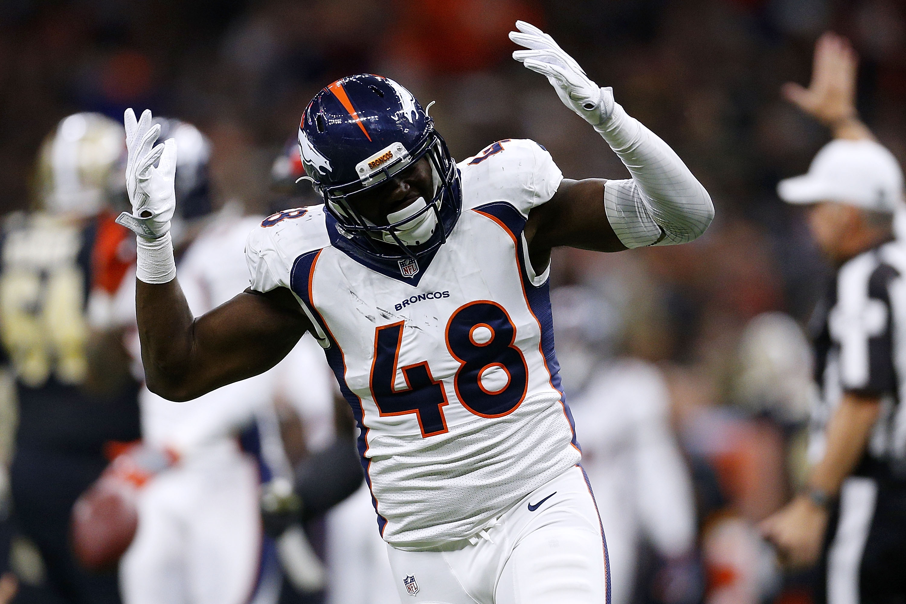 NEW ORLEANS, LA - NOVEMBER 13: Shaquil Barrett #48 of the Denver Broncos celebrates a sack during the second half of a game against the New Orleans Saints at the Mercedes-Benz Superdome on November 13, 2016 in New Orleans, Louisiana. (Photo by Jonathan Bachman/Getty Images)