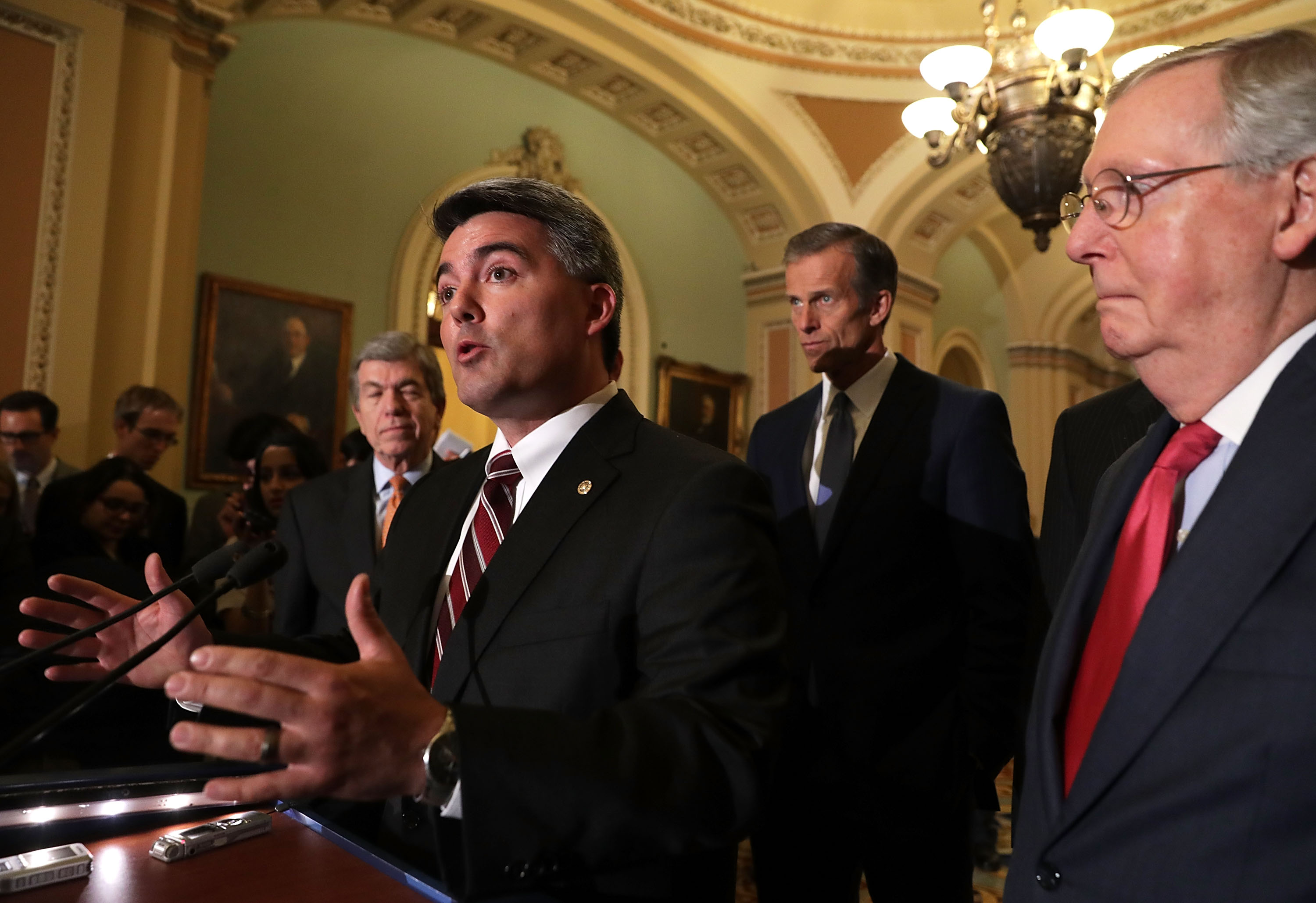 Sen. Cory Gardner (R-CO) speaks to members of the media flanked by Sen. Roy Blunt (R-MO) (L), Sen. John Thune (R-SD) (2nd R) and Senate Majority Leader Sen. Mitch McConnell (R-KY) (R) during a news briefing after the weekly Senate GOP policy luncheon at the Capitol November 16, 2016 in Washington, DC. Senate Republicans gathered at the weekly luncheon to discuss GOP agenda. (Photo by Alex Wong/Getty Images)