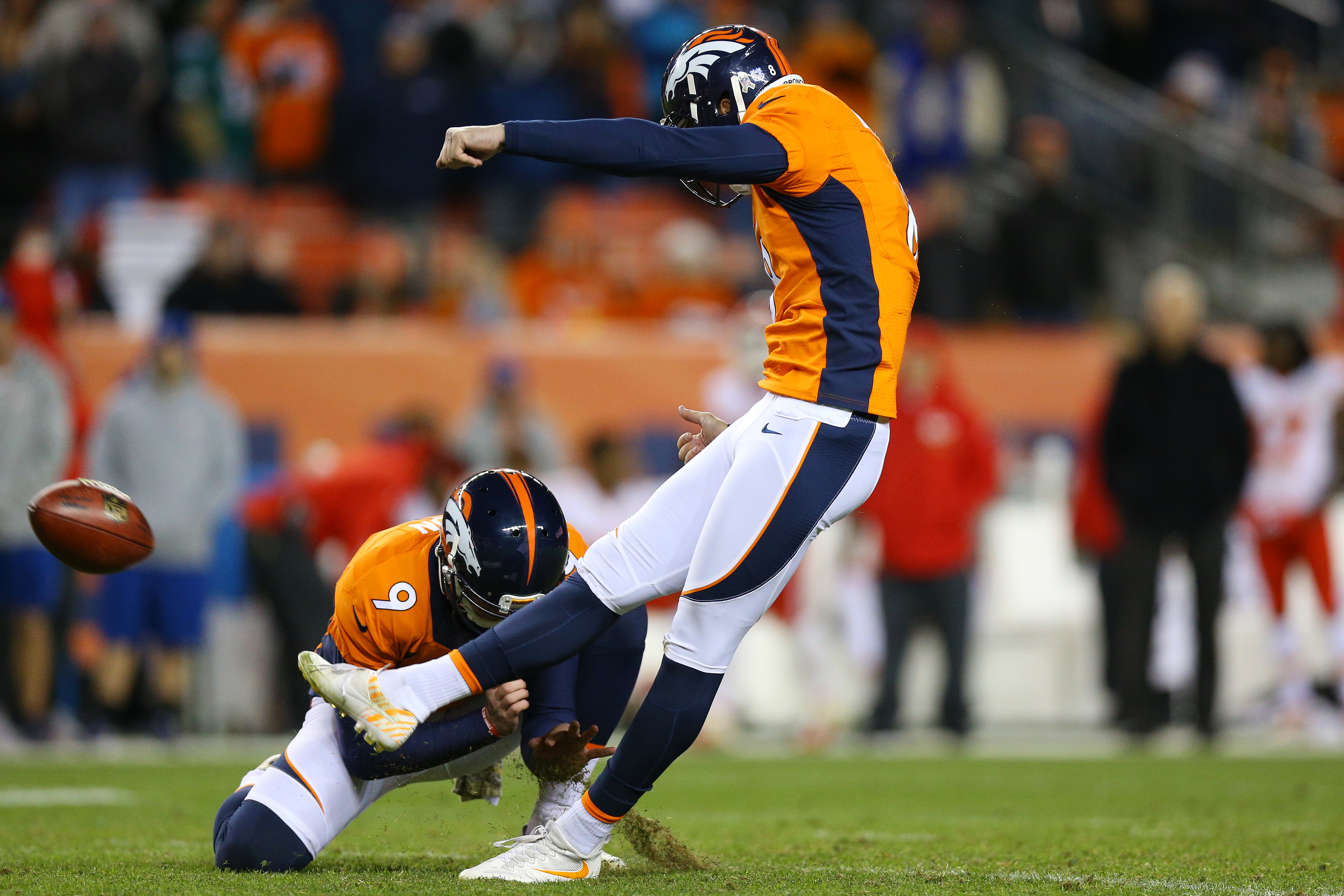 DENVER, CO - NOVEMBER 27: Kicker Brandon McManus #8 of the Denver Broncos makes a field goal in overtime of the game against the Kansas City Chiefs at Sports Authority Field at Mile High on November 27, 2016 in Denver, Colorado. (Photo by Justin Edmonds/Getty Images)