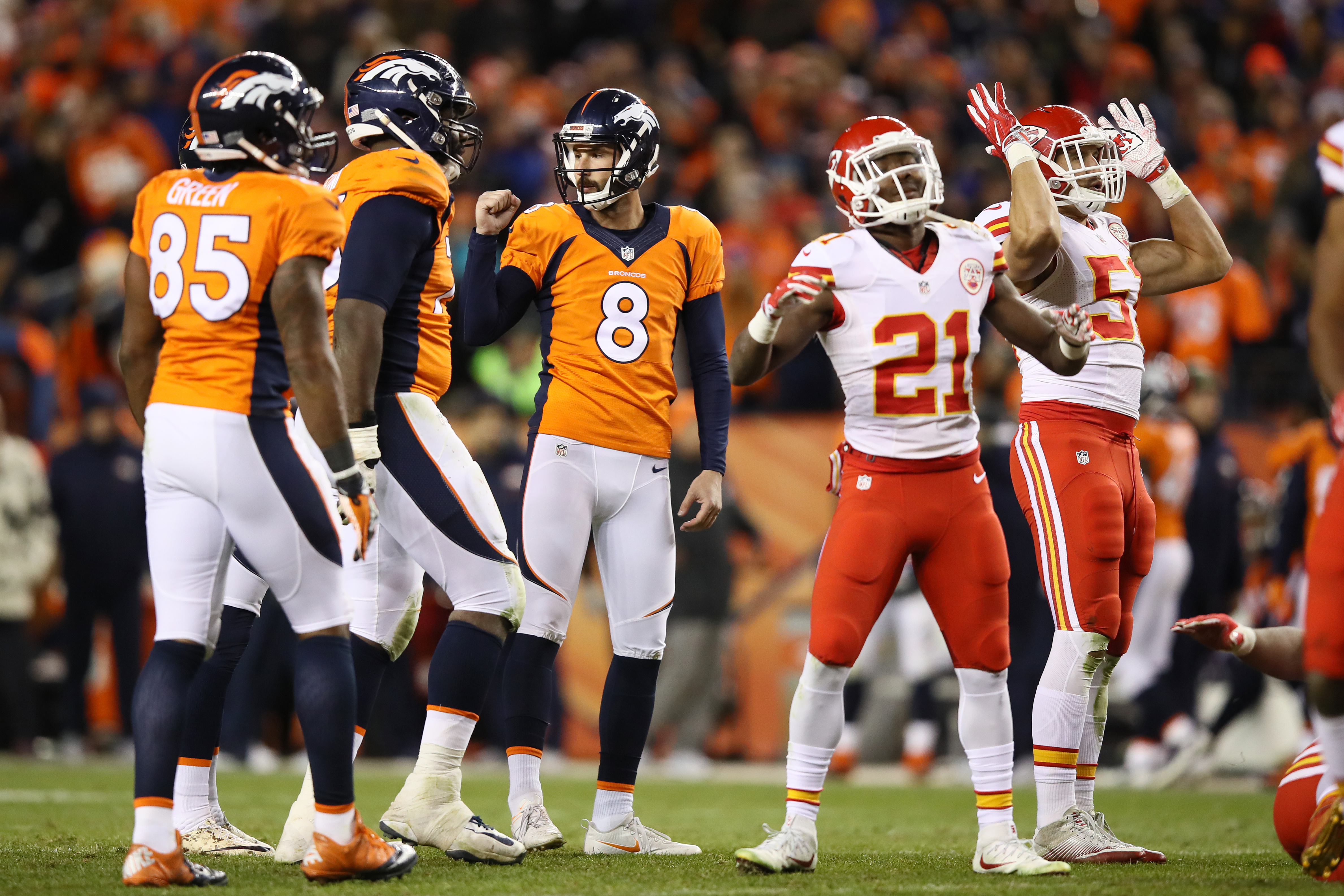 DENVER, CO - NOVEMBER 27: Kicker Brandon McManus #8 of the Denver Broncos celebrates scoring a field goal in overtime of the game against the Kansas City Chiefs at Sports Authority Field at Mile High on November 27, 2016 in Denver, Colorado. (Photo by Ezra Shaw/Getty Images)