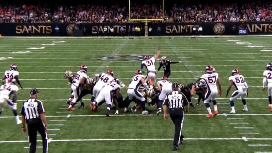 Justin Simmons blocks an extra point attempt (credit: CBS)