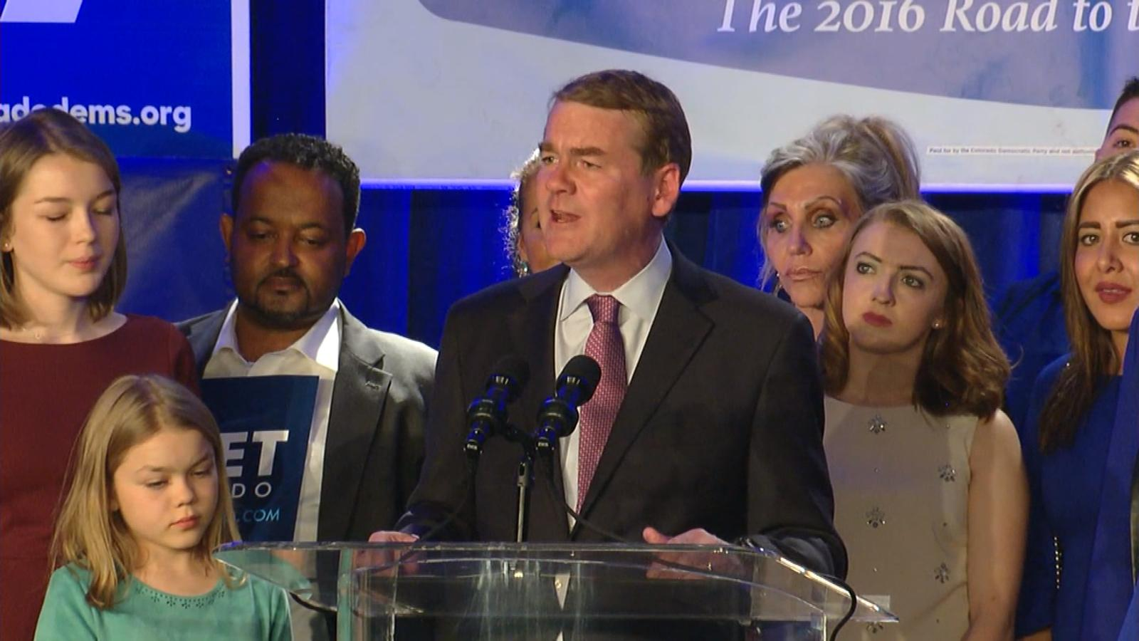Sen. Michael Bennet claims victory. (credit: CBS)