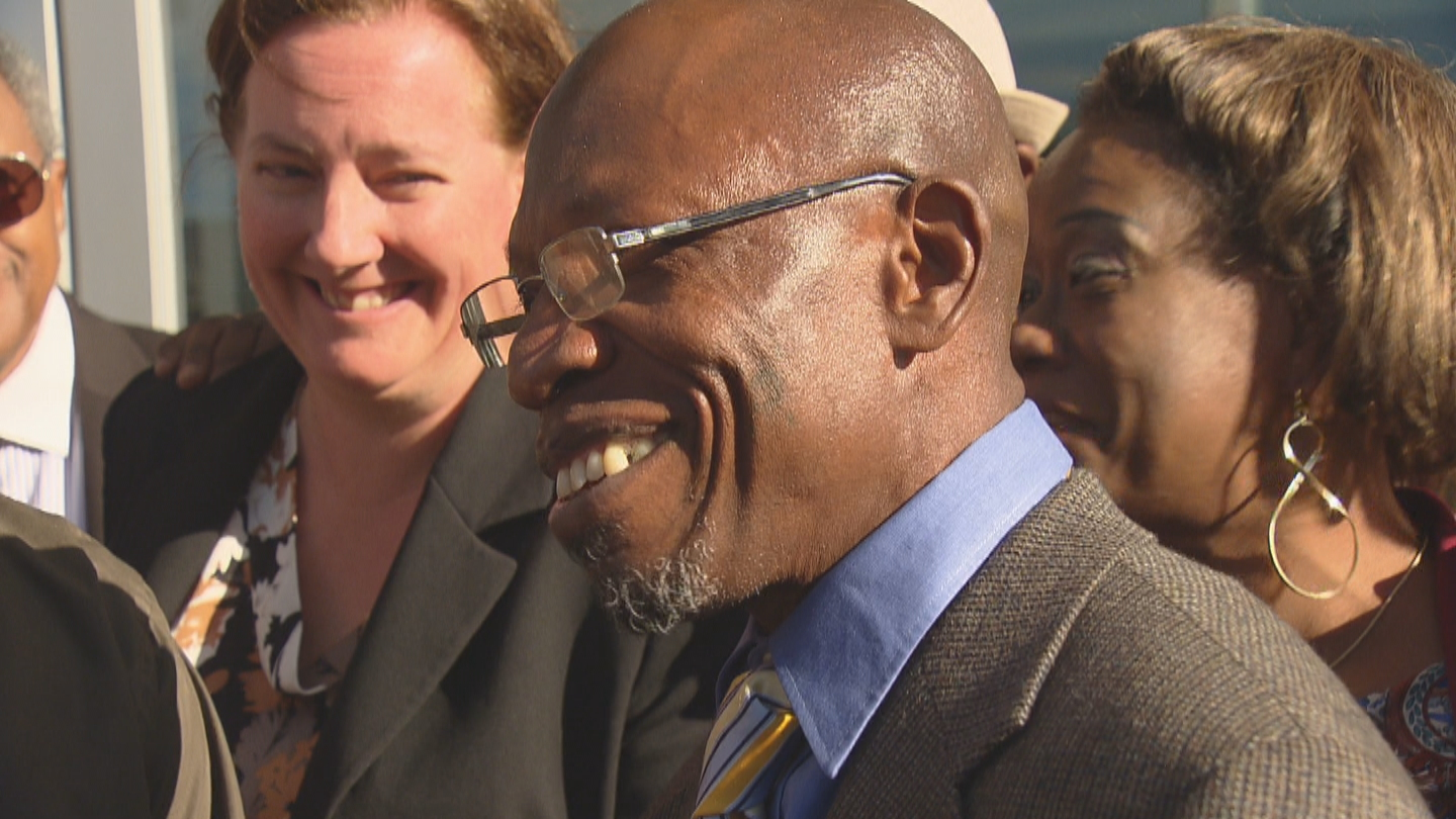 Clarence Moses-El on the day he was acquitted of rape (credit: CBS)