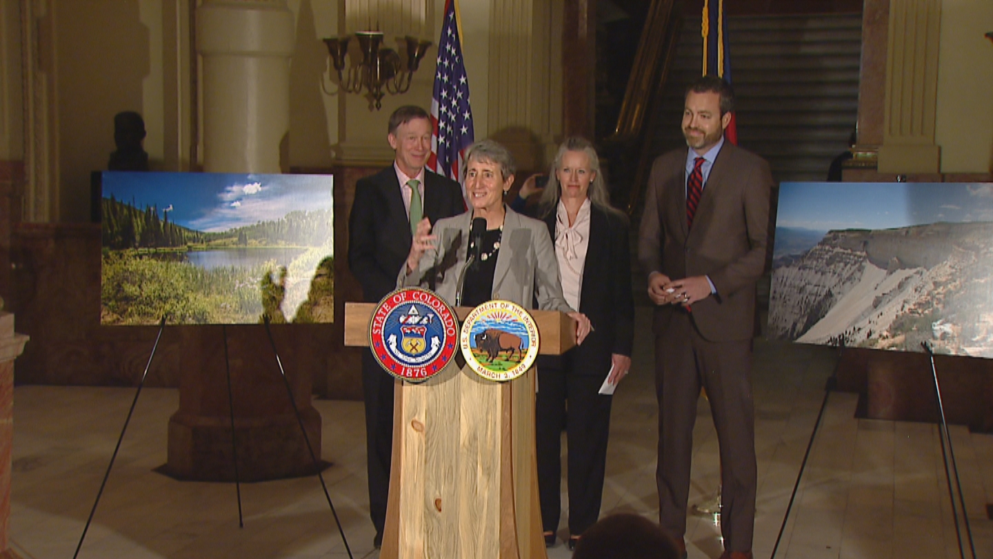 Gov. John Hickenlooper and Secretary of Interior Sally Jewell announce the decision at the state Capitol (credit: CBS)