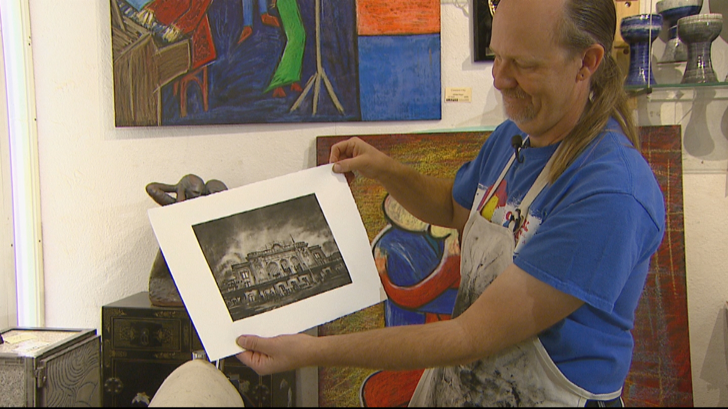 Michael Rieger making photo etching prints (credit: CBS)