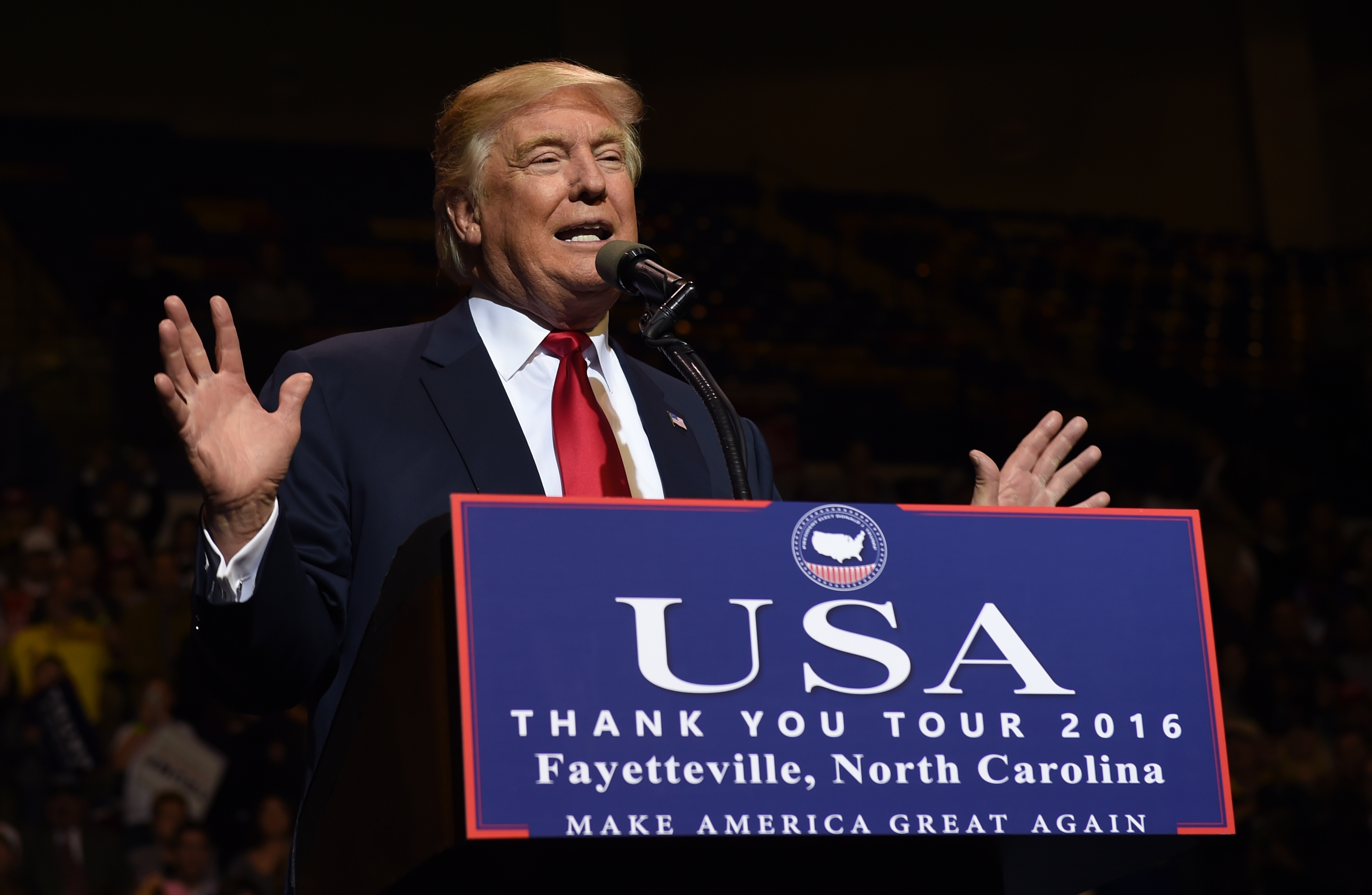 President-elect Donald Trump speaks at the Crown Coliseum in Fayetteville, North Carolina on December 6, 2016 during his USA Thank You Tour. (credit: TIMOTHY A. CLARY/AFP/Getty Images)