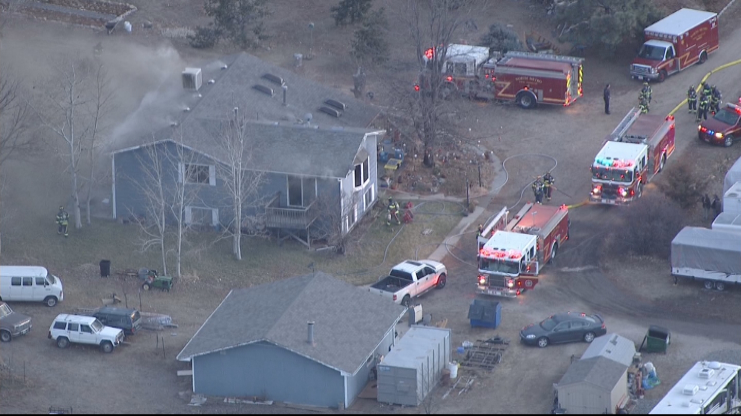 Copter4 flew over the burning home in Thornton on Thursday afternoon (credit: CBS)