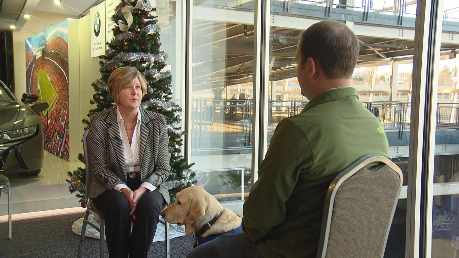 Becky Zimmerman, the President and CEO of the National Sports Center for the Disabled, is interviewed by CBS4's Jeff Todd (credit: CBS)