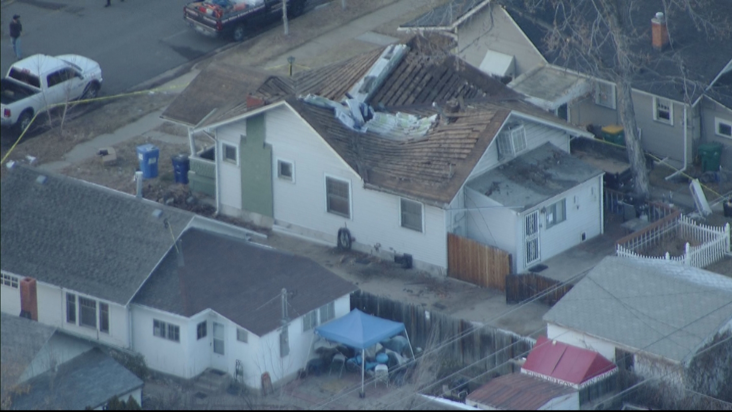 Copter4 flew over the home where the roof collapsed (credit: CBS)