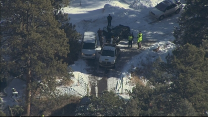 Copter4 flew over the Volkswagen after it was pulled from the creek (credit: CBS)