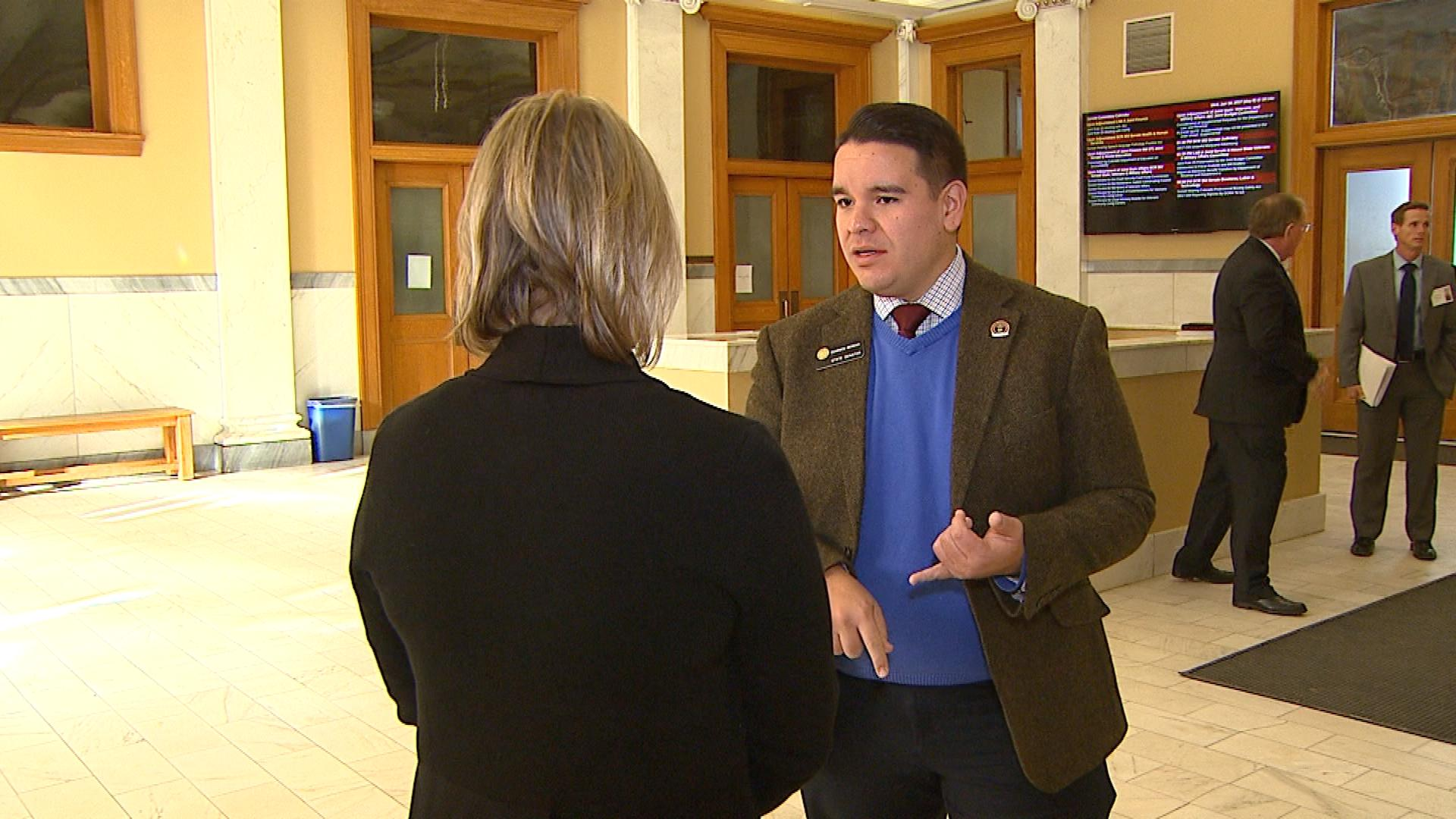 Sen. Dominick Moreno, D-Commerce City, is interviewed by CBS4's Shaun Boyd (credit: CBS)