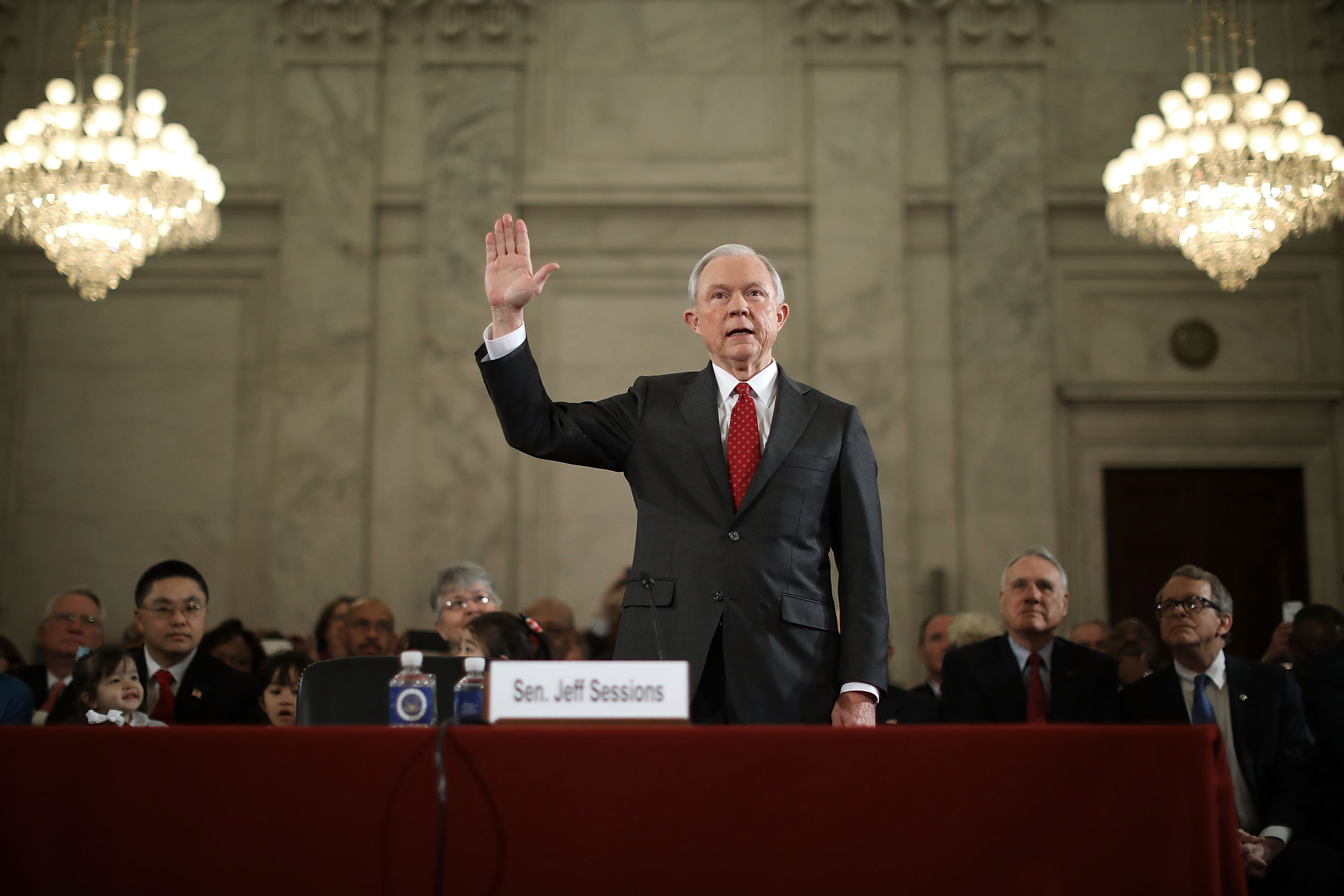 Sen. Jeff Sessions is sworn in before the Senate Judiciary Committee during his confirmation hearing to be the U.S. attorney general Jan. 10, 2017 in Washington. (credit: Chip Somodevilla/Getty Images)