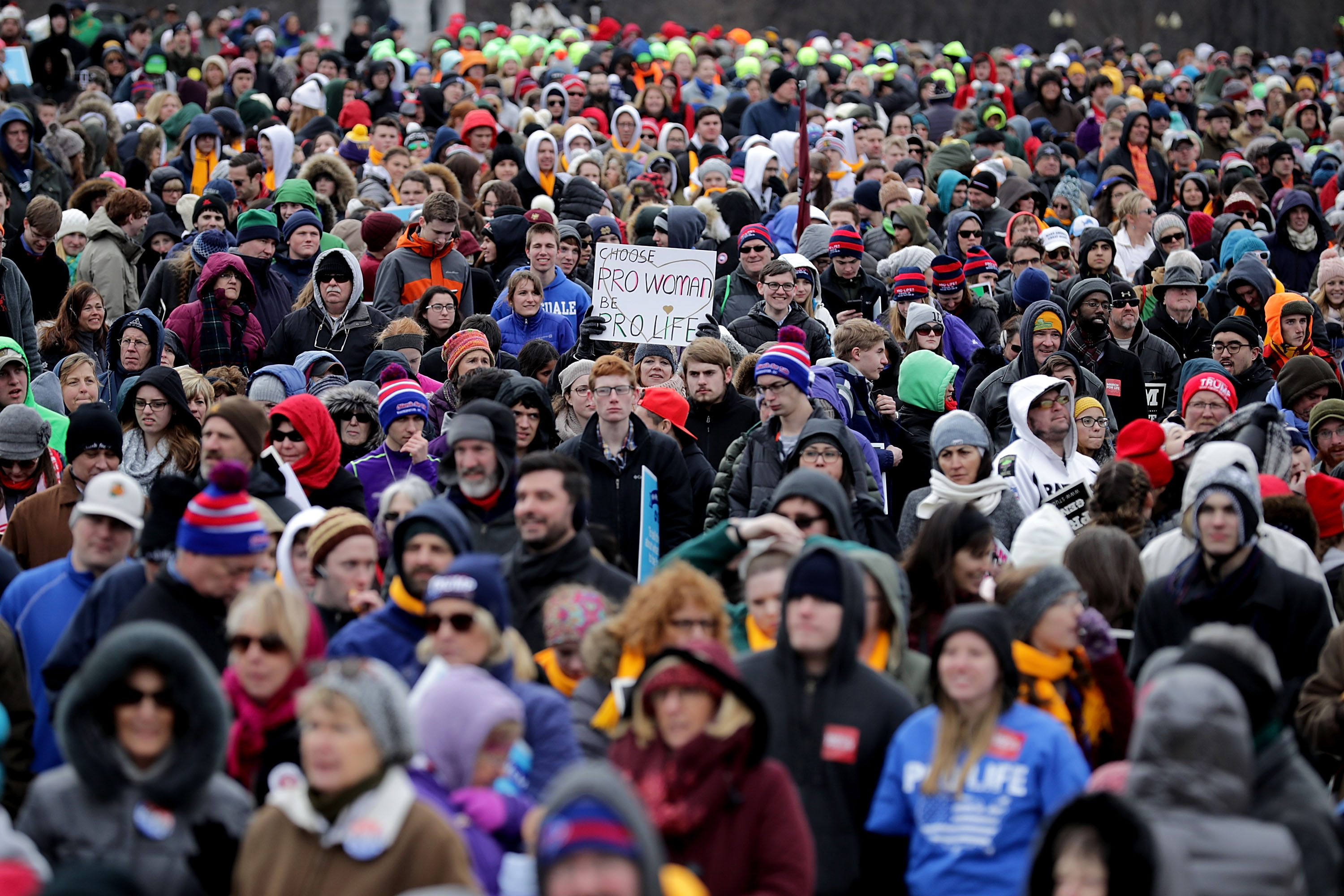Thousands of people rally on the National Mall before the start of the 44th annual March for Life January 27, 2017 in Washington, DC. (Photo by Chip Somodevilla/Getty Images)
