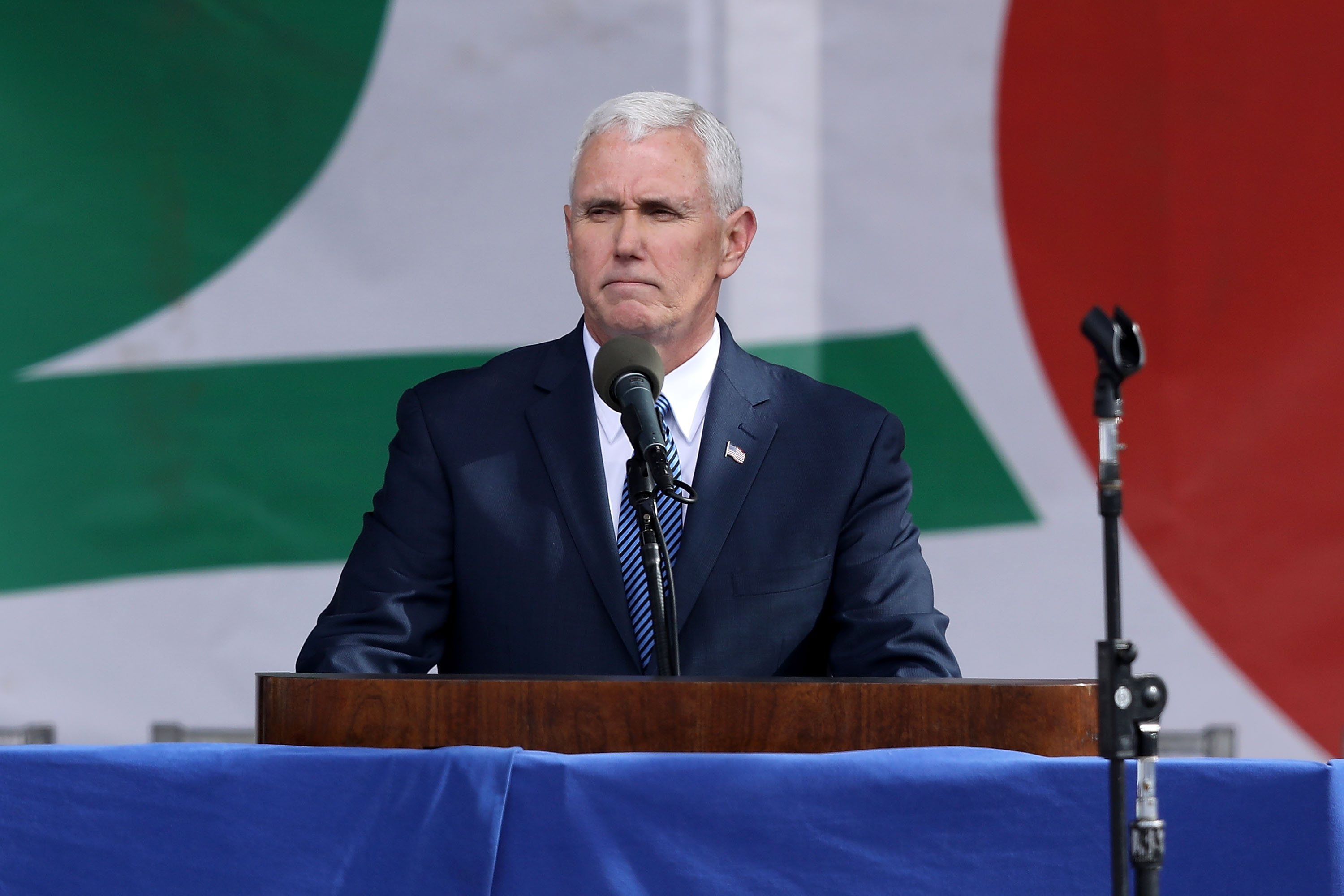 U.S. Vice President Mike Pence addresses a rally on the National Mall before the start of the 44th annual March for Life January 27, 2017 in Washington, DC. (Photo by Chip Somodevilla/Getty Images)