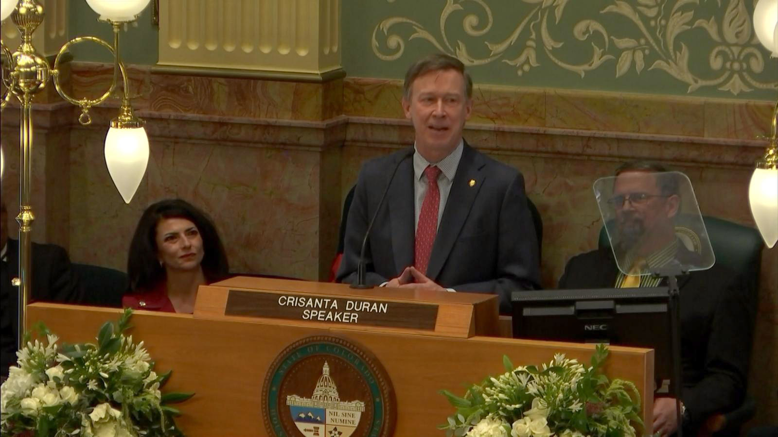 Gov. John Hickenlooper delivers the 2017 State of the State address. (credit: CBS)