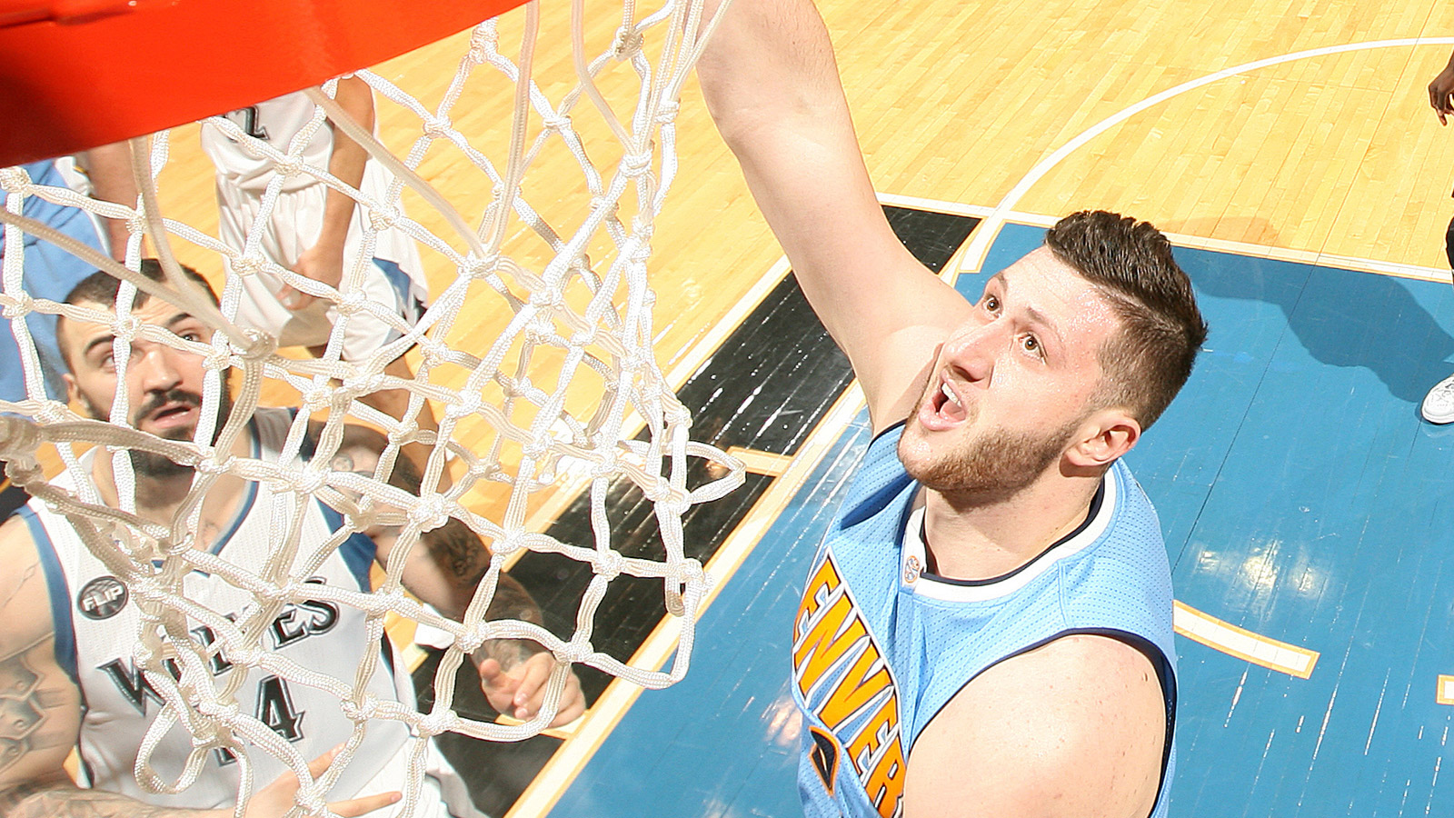 Jusuf Nurkic of the Denver Nuggets shoots the ball against the Minnesota Timberwolves on January 2, 2016 at Target Center. (credit: David Sherman/NBAE via Getty Images)