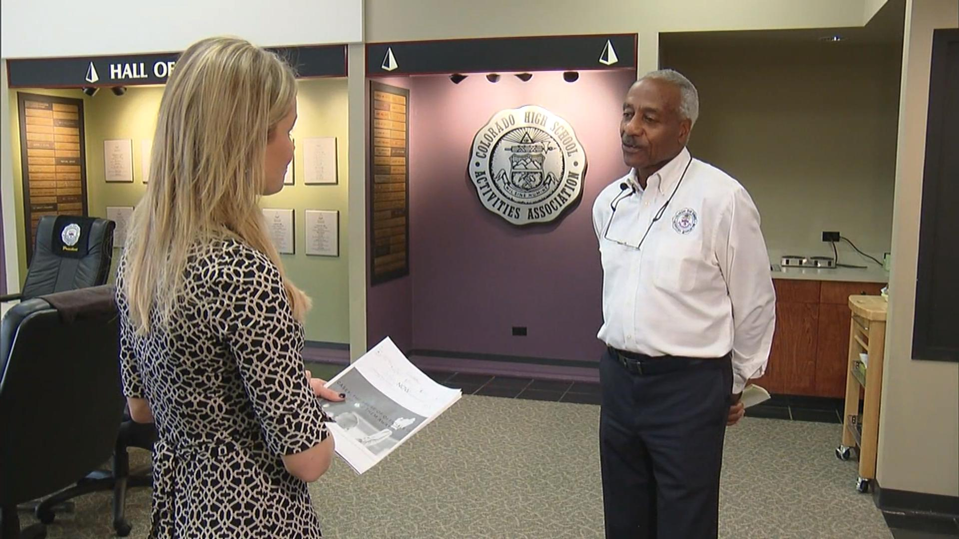 CBS4's Kelly Werthmann interviews Tom Robinson, Commissioner and officials liaison for the Colorado High School Athletics Association (credit: CBS)
