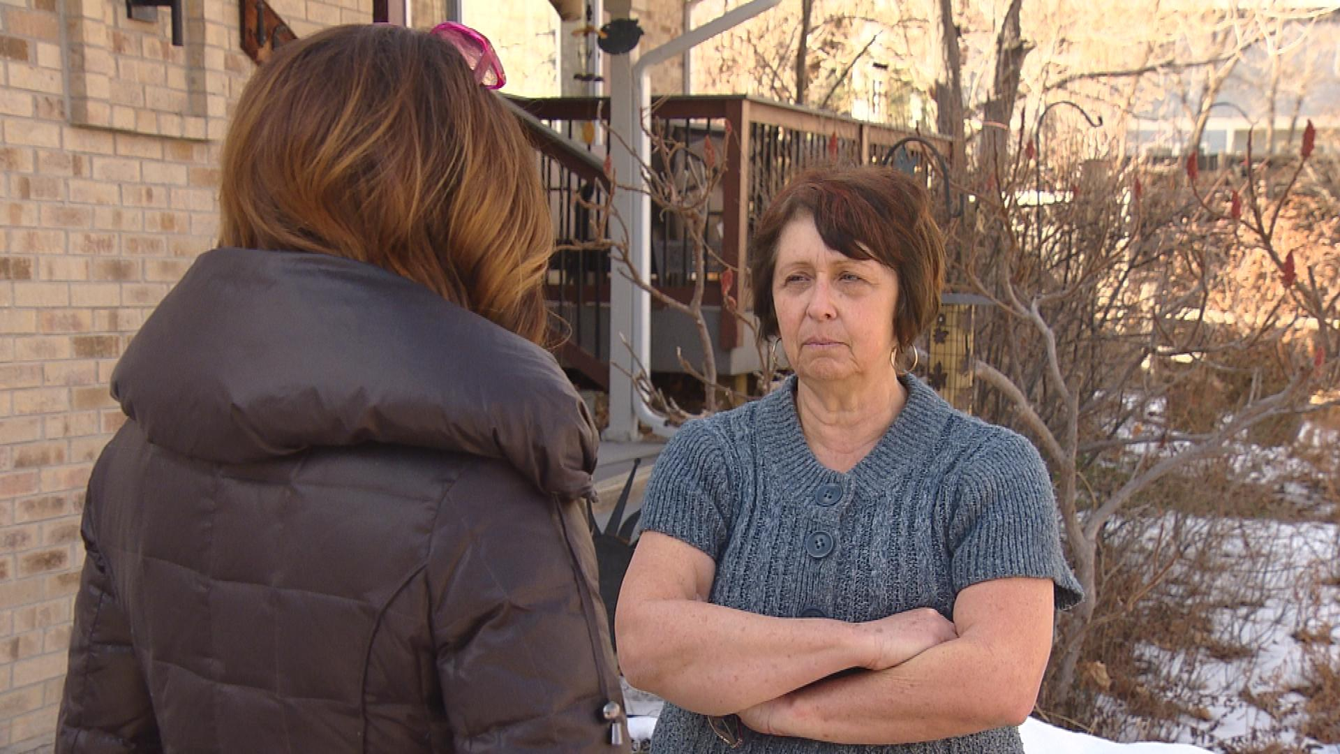 "CBS4's Jennifer Brice interviews alleged victim Kathy Varone (credit"" CBS)"
