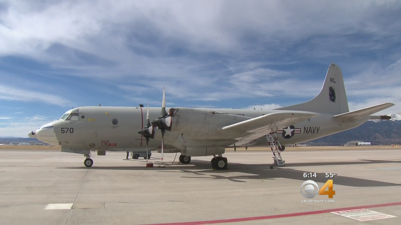 A P-3 Orion gets ready to fly a mission to study the snowpack in western Colorado. (credit: CBS)