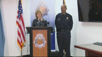 Denver Police Cmdr. Major Crimes Division Barb Archer and Denver Police Chief Robert White (credit: CBS)