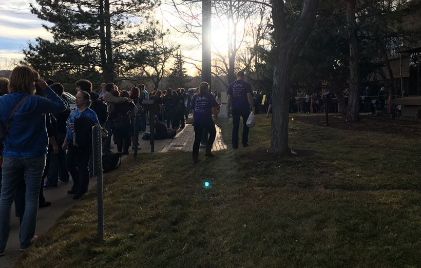 The line outside of the meeting (credit: CBS)