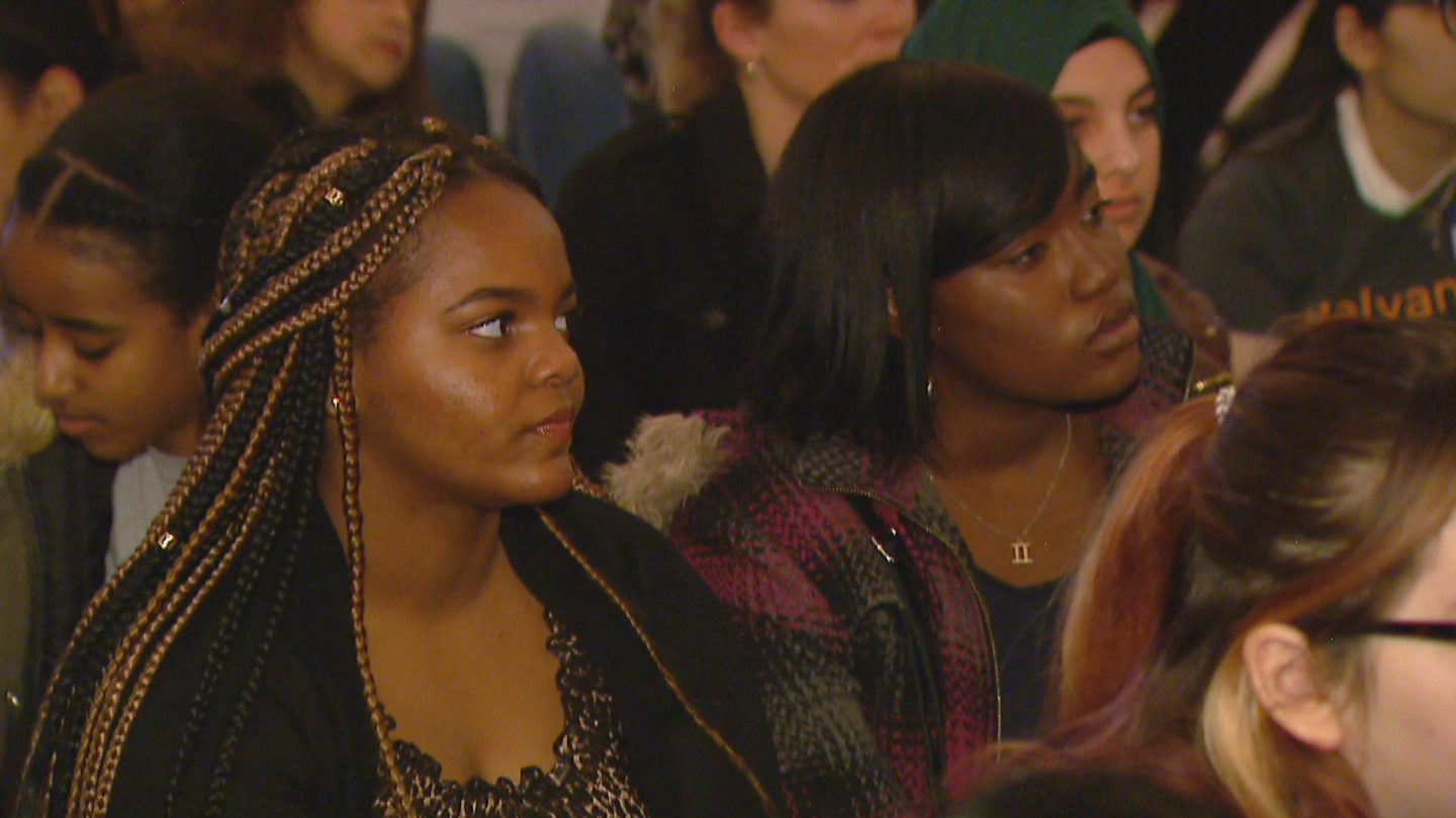 Simone Blair and her classmate participate in the STEM event. (credit CBS)