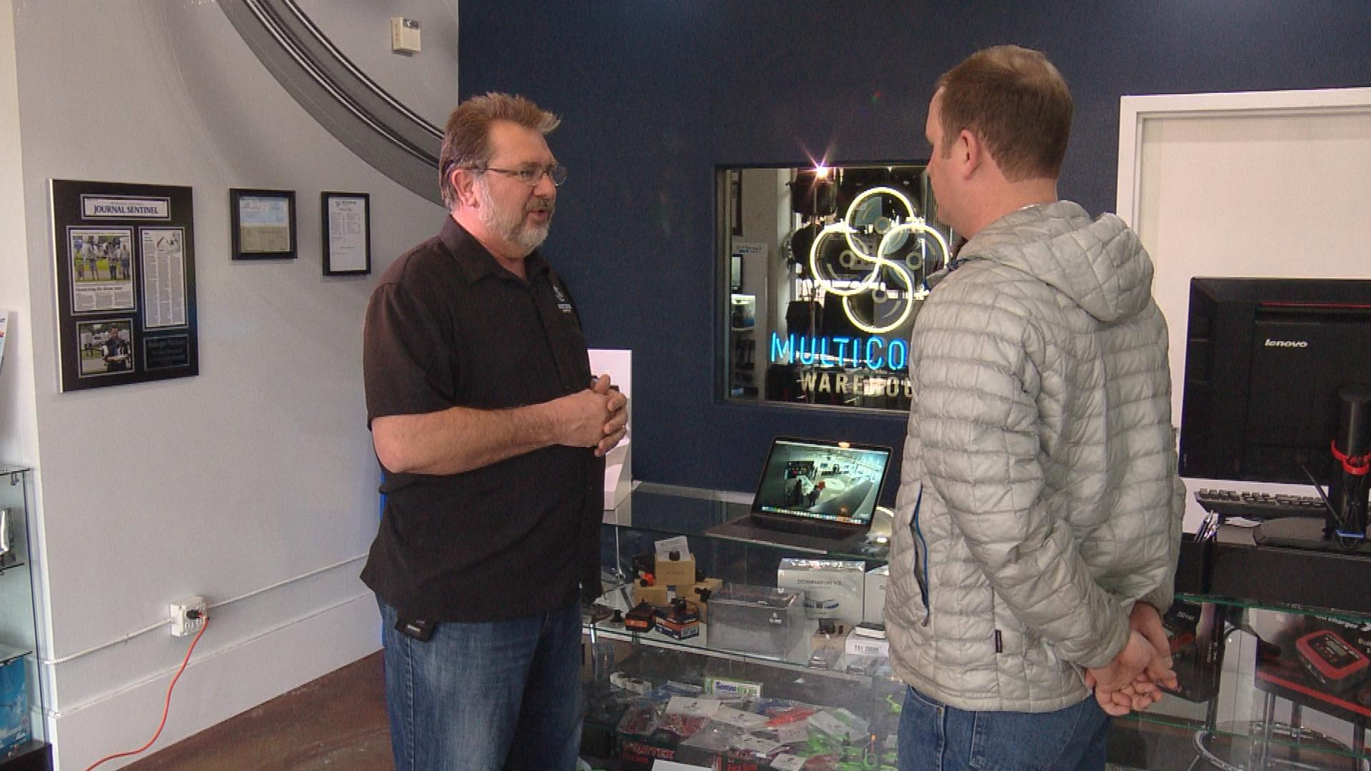 Kerry Garrison, the COO of Multicopter Warehouse, is interviewed by CBS4's Jeff Todd (credit: CBS)