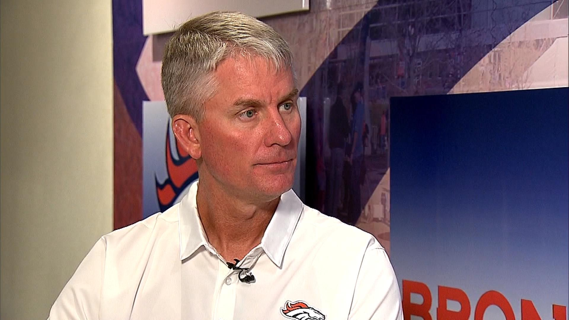 Broncos offensive coordinator Mike McCoy talks with CBS4 on Feb. 7, 2016. (credit: CBS)
