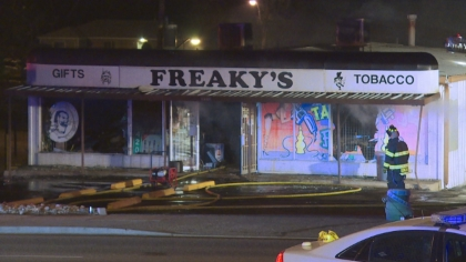 Fire destroyed Freaky's smoke shop in Thornton (credit: CBS)