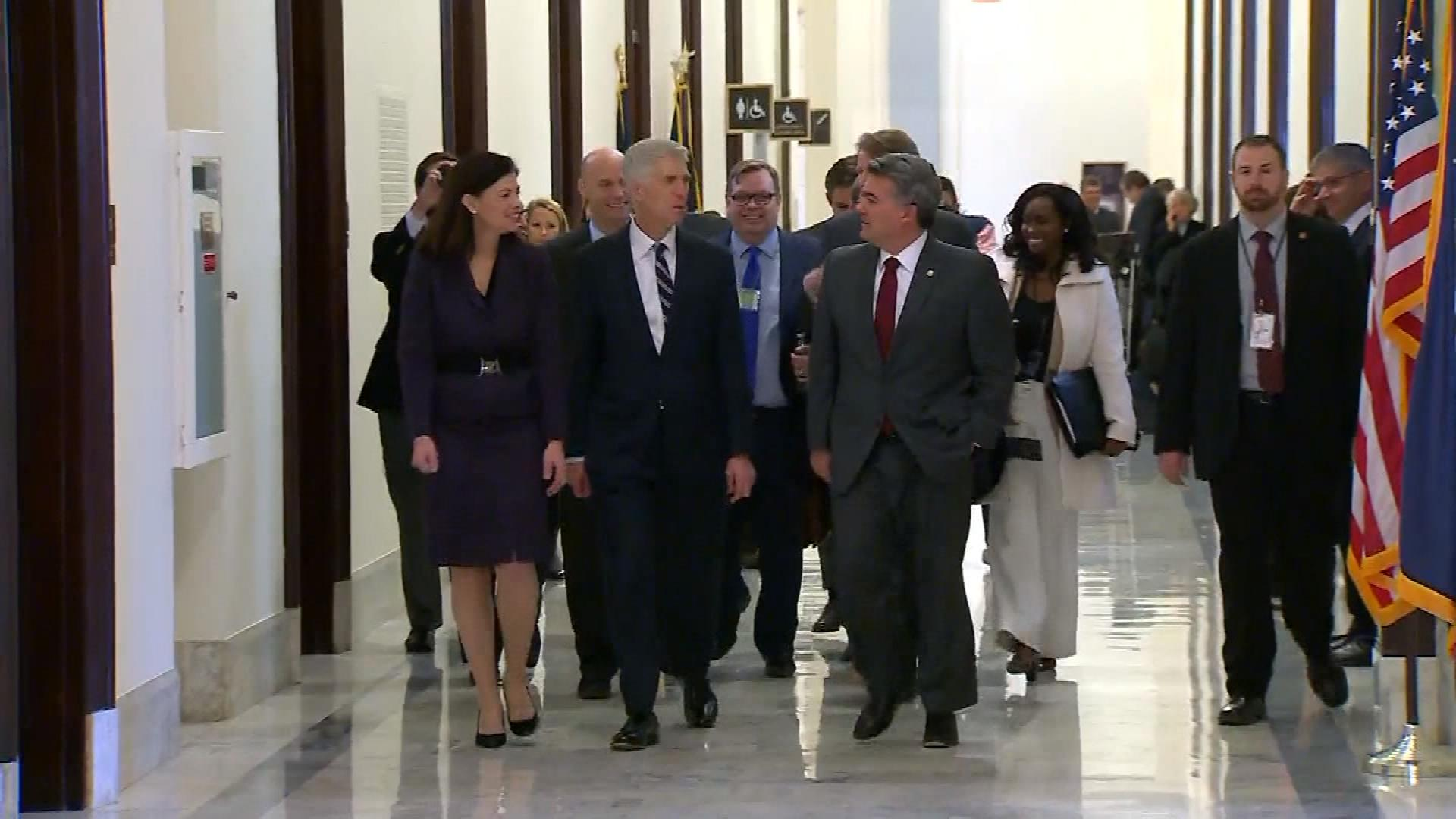 Judge Neil Gorsuch meets with Colorado Sen. Cory Gardner (credit: CBS)