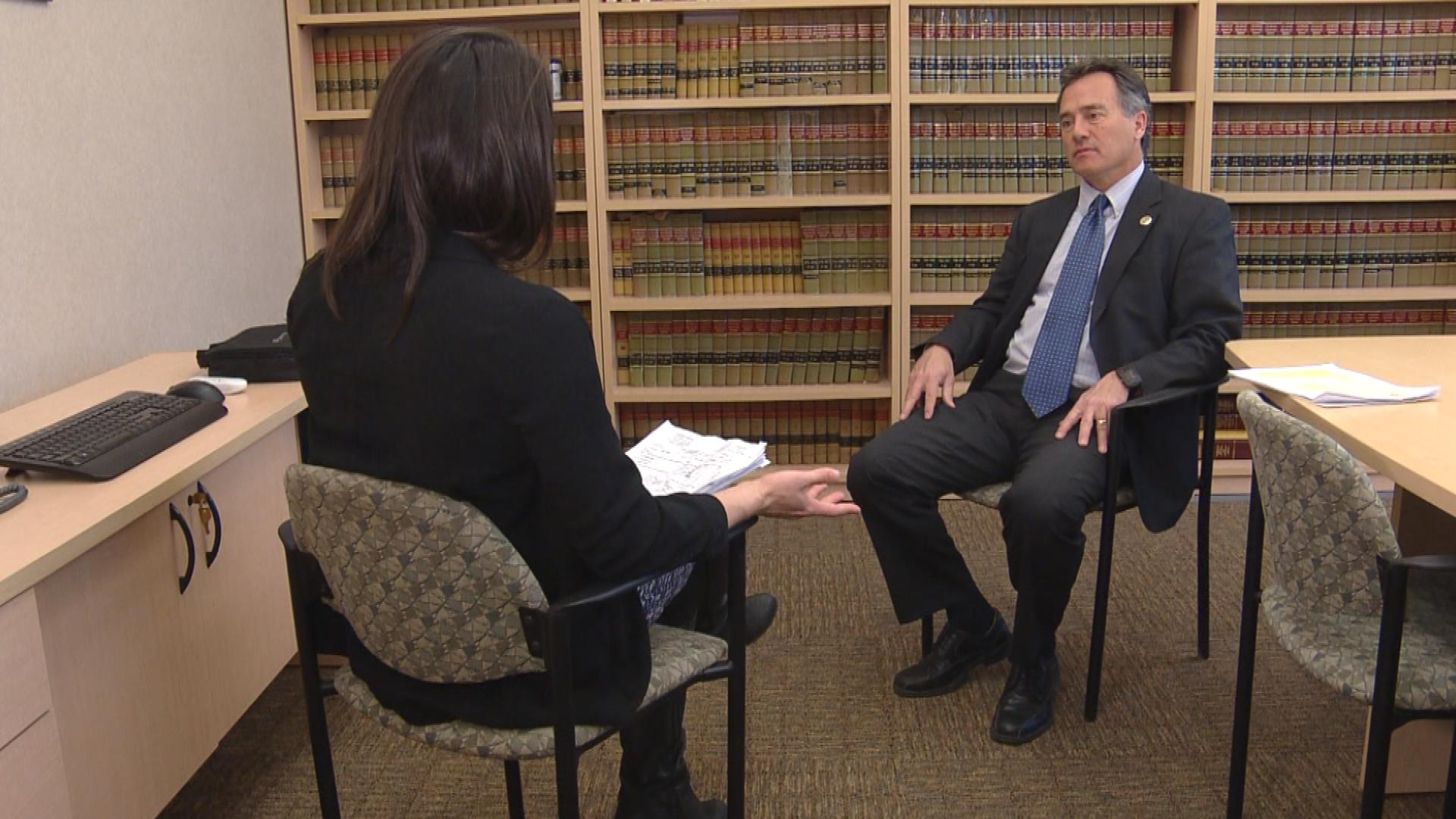 CBS4's Karen Morfitt interviews Adams County District Attorney Dave Young (credit: CBS)