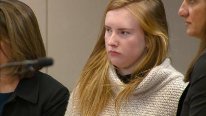 Brooke Higgins in court during her sentencing on Feb. 8 (credit: CBS)