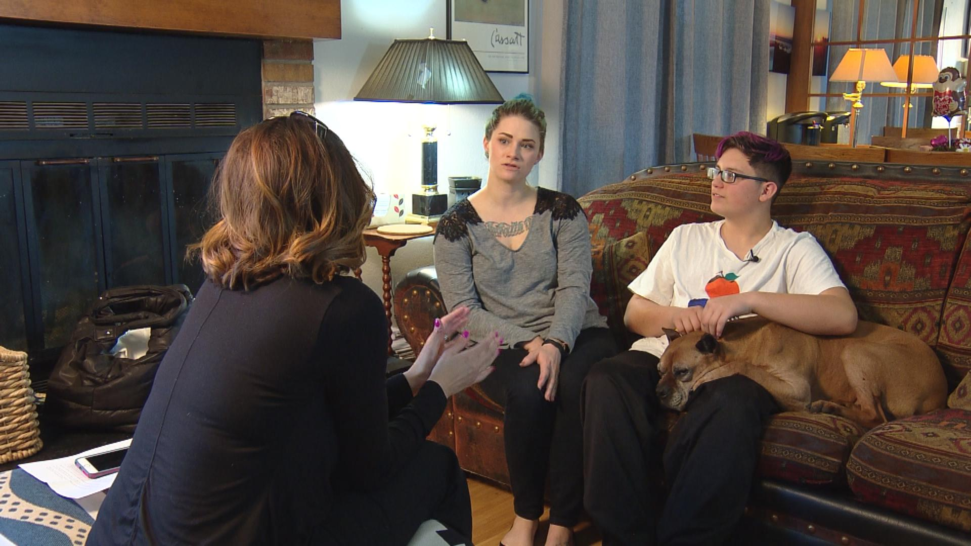 CBS4's Jennifer Brice interviews Janell and Aiden Feeley (credit: CBS)