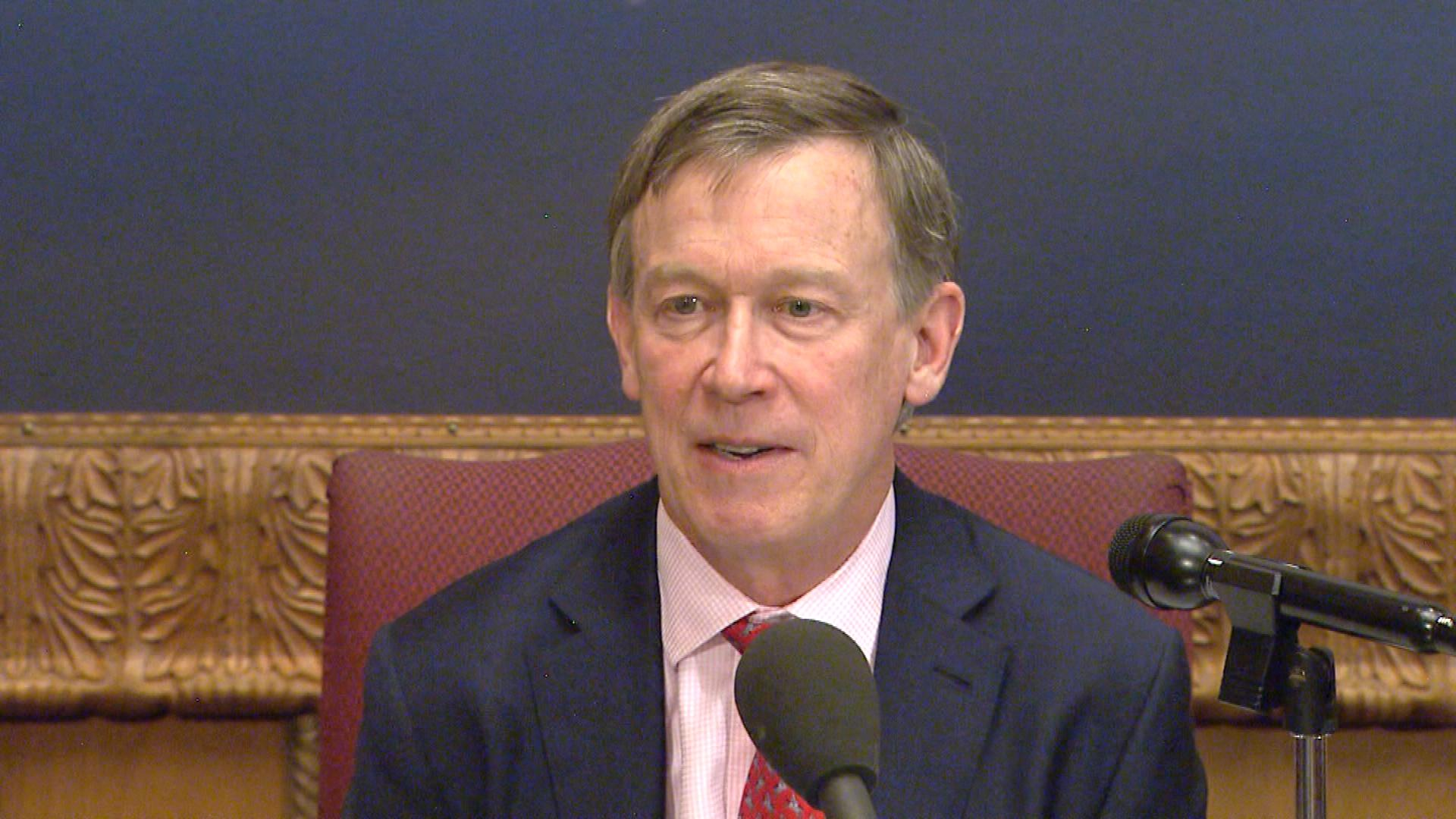 Gov. John Hickenlooper on Wednesday (credit: CBS)