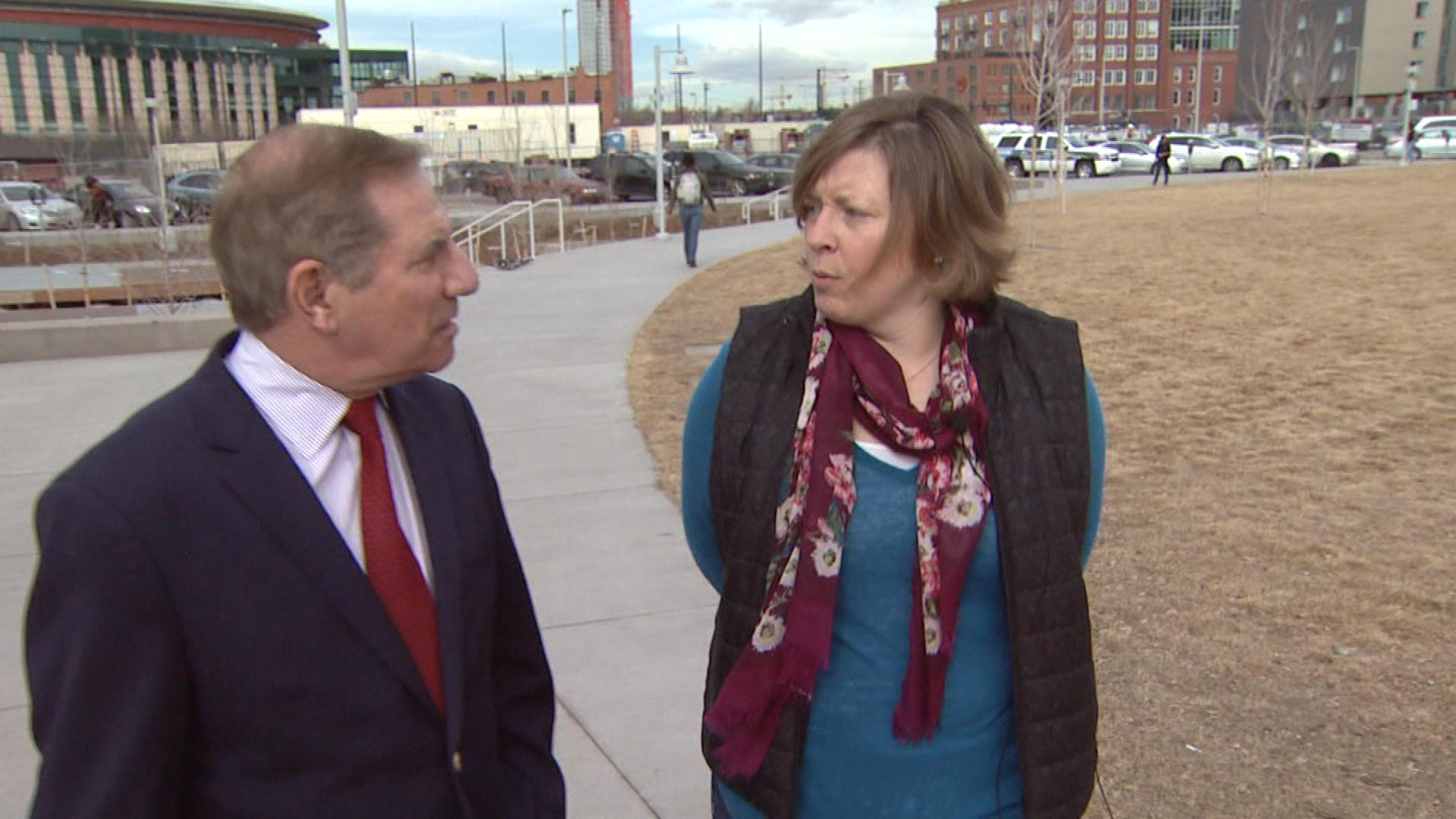 CBS4's Rick Sallinger interviews Amy Pohl with the Colorado Coalition Against Domestic Violence (credit: CBS)