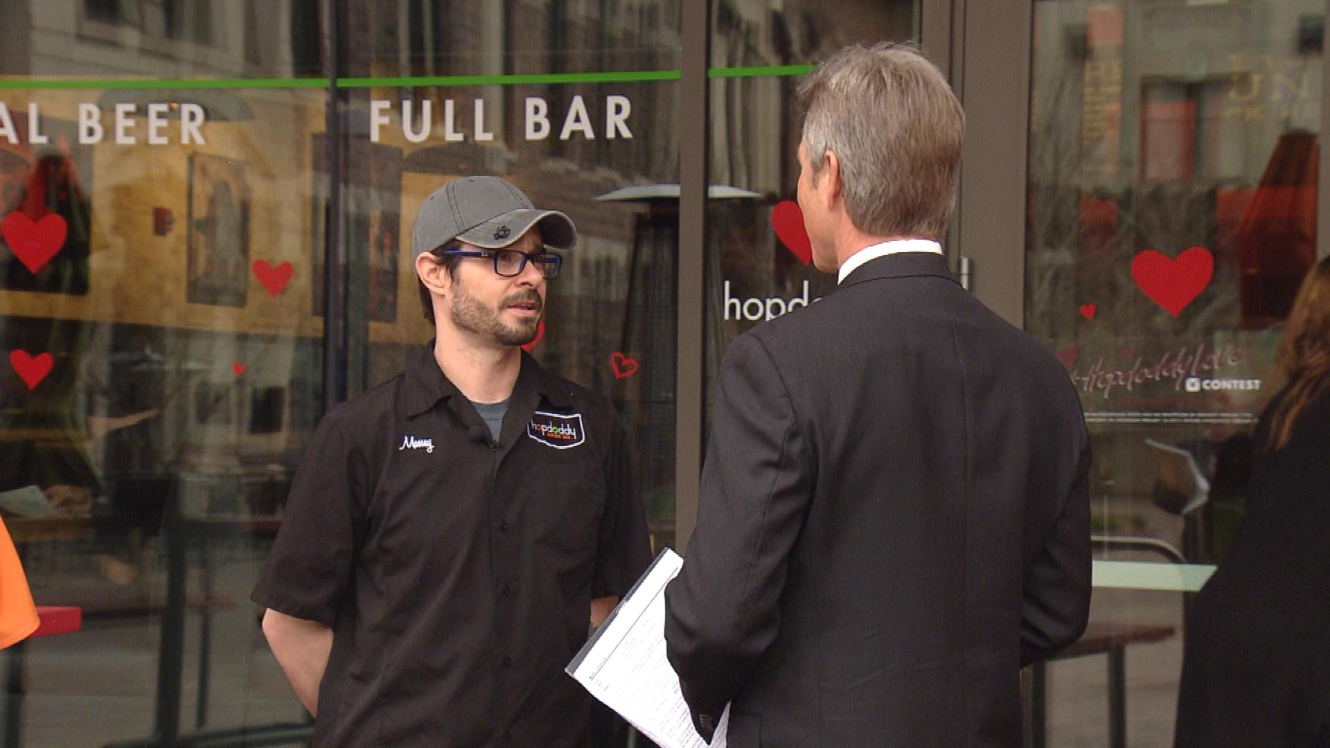 Chris Massey with the Hopdoddy Burger Bar is interviewed by CBS4's Tom Mustin (credit: CBS)