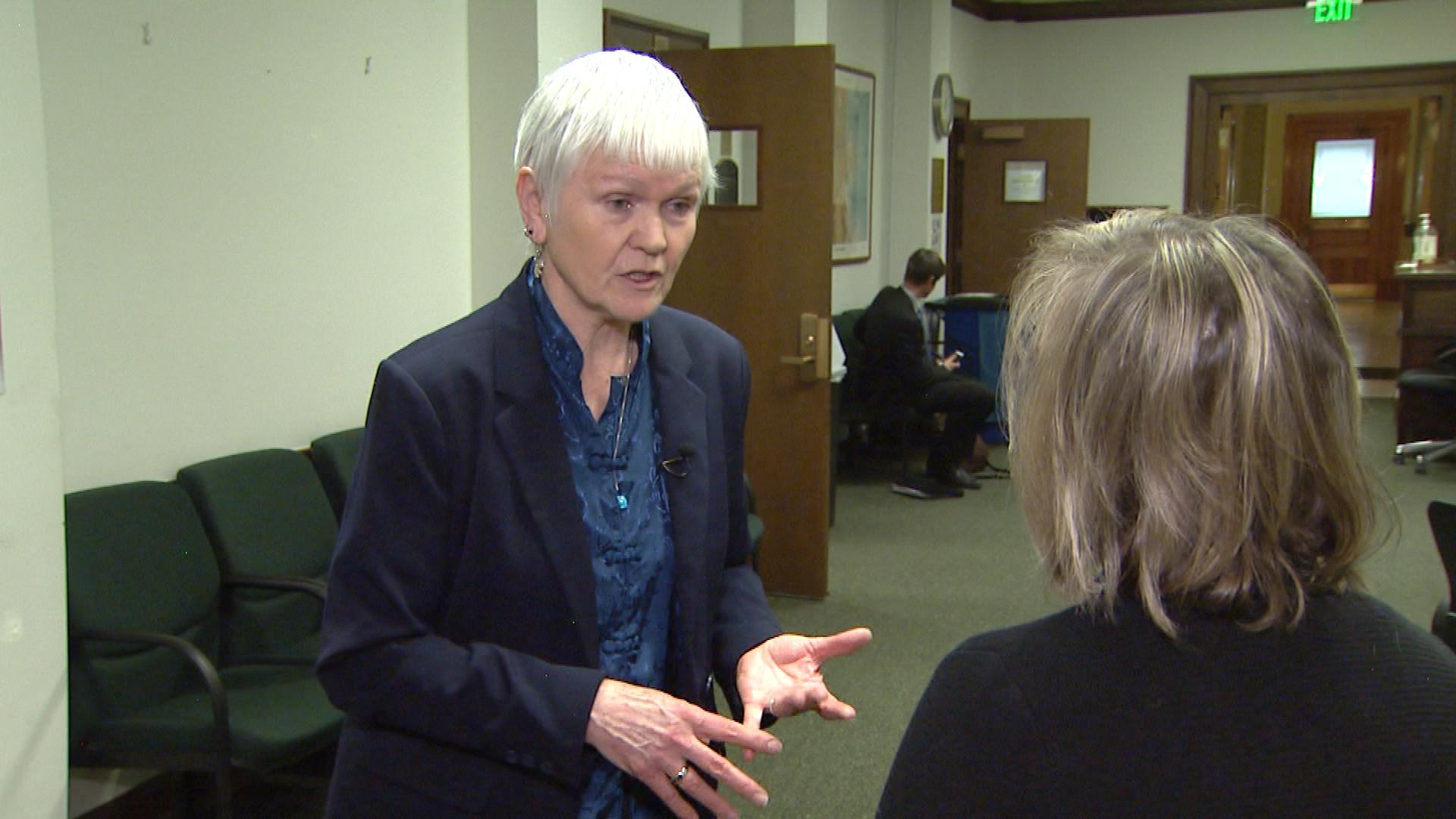Doralee Larson with the Denver Domestic Violence Review Board is interviewed by CBS4's Shaun Boyd (credit: CBS)