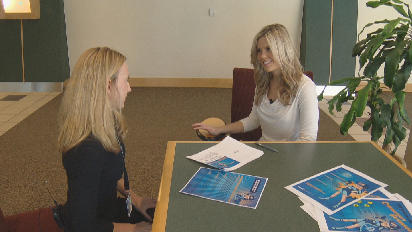 CBS4's Lauren Whitney talks with Beth Ard of Level 3. (credit CBS)