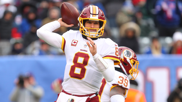 Kirk Cousins #8 of the Washington Redskins throws a pass during the first half of their game against the New York Giants at MetLife Stadium on December 31, 2017 in East Rutherford, New Jersey.