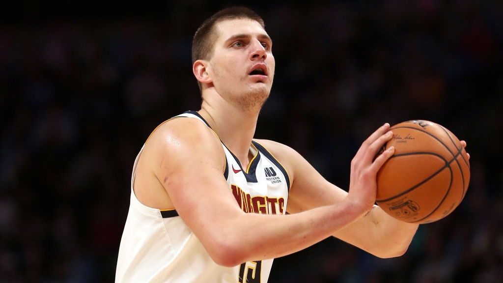Nikola Jokic #15 of the Denver Nuggets plays the Toronto Raptors at the Pepsi Center on Dec. 16