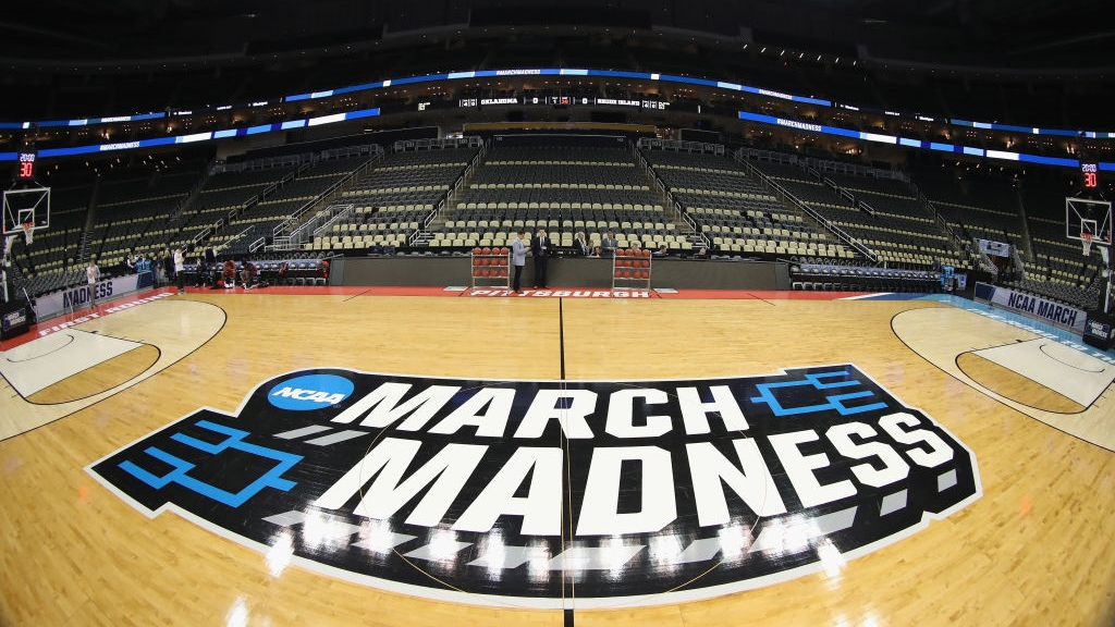 A general view of the court with March Madness signage is seen prior to the start of the game between the Oklahoma Sooners and the Rhode Island Rams in the first round of the 2018 NCAA Men's Basketball Tournament at PPG PAINTS Arena on March 15, 2018 in Pittsburgh, Pennsylvania.